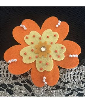 Kalacaree Beaded Flower Theme Hair Clip - Orange