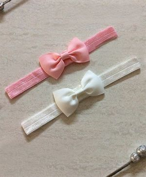 Angel Closet Small Bow Headbands - Pink & White