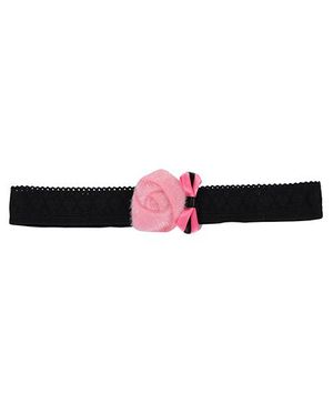 Funkrafts Fur Rose & Bow Lace Headband - Pink