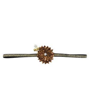 Funkrafts Shimmer Flower Ethnic Headband - Copper Brown