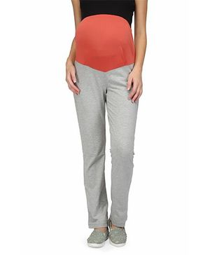 Preggear Maternity Yoga Pants With Jersey Panel - Grey