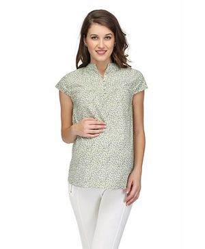 Preggear Nursing Front Open Cotton Maternity Top - Multicolour