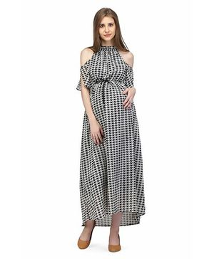 Preggear Cold Shoulder Houndstooth Maternity Maxi Dress - Black