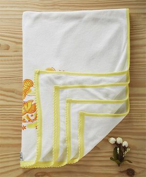 Tinycare Towel Teddy Print - White Yellow