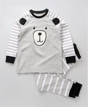 Ventra Bear Print Organic Cotton Night Suit - Grey