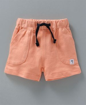 Babyoye Solid Colour Shorts With Palm Tree Patch - Peach