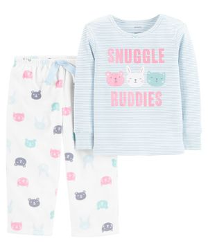 Carter's 2-Piece Snuggle Buddies Snug Fit Cotton & Fleece PJs - Sky Blue