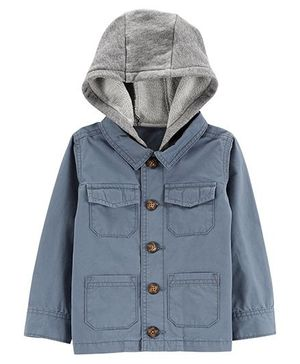 Carter's Hooded Front Button Jacket - Blue