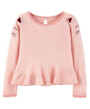 Carter's Striped Cat Sweater Top - Pink