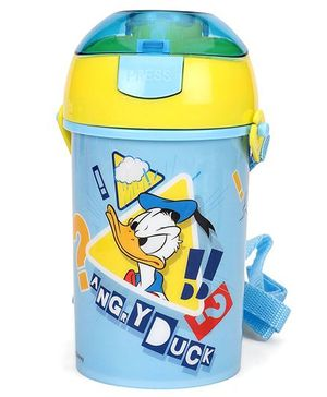 Disney Donald Duck Sipper Water Bottle With Push Button Top Light Blue - 400 ml