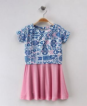 Earth Conscious Printed Top Skirt - Pink & Blue