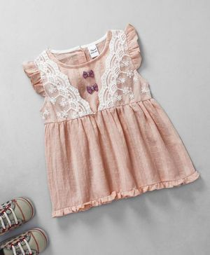 Meng wa Lace Design Dress - Peach