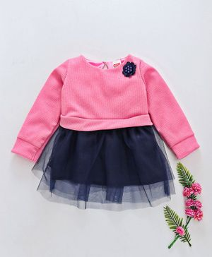 Babyhug Party Wear Full Sleeves Frock Flower Applique - Pink Navy Blue
