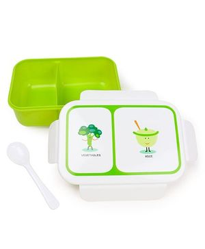 Rectangular Shaped Lunch Box With Spoon - White Green