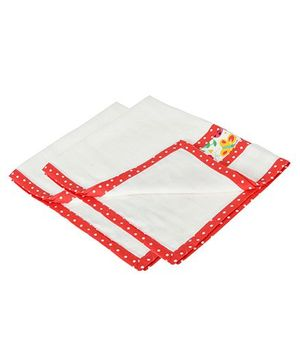 Yogis Baby Organic Burp Cloth Pack of 2 - White & Red