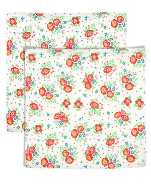 Yogis Baby Organic Face Napkins Floral Print Pack of 2  - Multi Colour