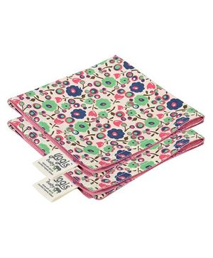 Yogis Baby Organic Face Napkins Pack of 2 - Multi Colour Pink