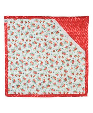 Yogis Baby Organic Cotton Hooded Towel Floral Print - Red