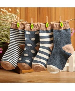 Footprints Super Soft Organic Cotton Socks Pack Of 4 - Grey