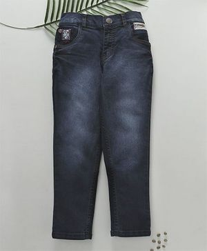Palm Tree Full Length Jeans With DX Wash - Navy Blue