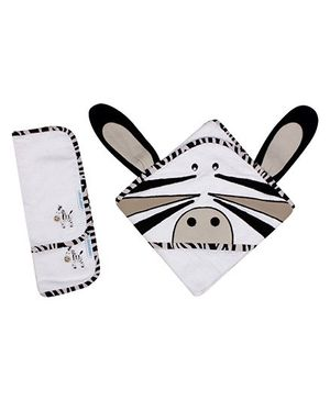 Abracadabra - Set Of Hooded Towel And Wash Cloths Zebra