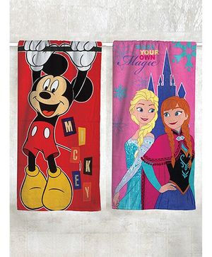Disney Frozen & Mickey Mouse Printed Bath Pack of 2 - Pink Red
