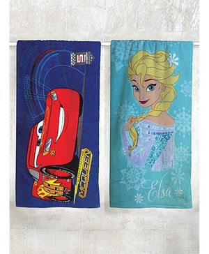 Disney Frozen & Cars Printed Bath Pack of 2 - Royal Blue Red