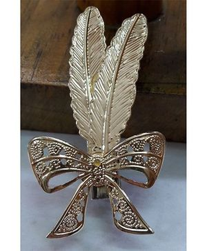 Sugarcart Elegant Feathers With Bow On Clip - Golden