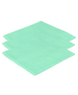 Lula Reusable Muslin Square Towels Pack of 3 - Green