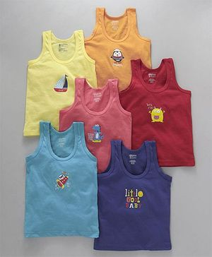 Bodycare Sleeveless Printed Vests Pack of 6 - Multicolour