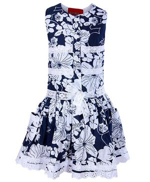 Little Pixies - Sleeveless Frock With Lace And Frill