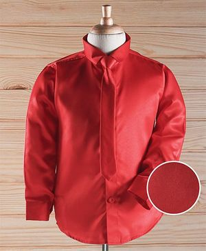 Robo Fry Full Sleeves Solid Color Party Shirt With Tie - Red