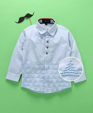 Robo Fry Full Sleeves Collar Neck Solid Color Shirt - Sky Blue