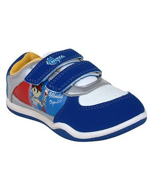 Myau Solid Velcro Closure Casual Shoes-Blue Yellow