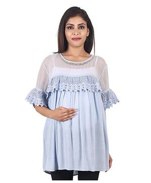 9teen Again Rayon Crepe & Georgette Maternity Top - Powder Blue