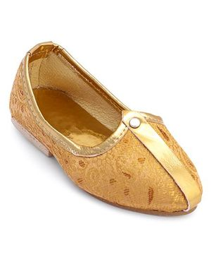 Ethniks Neu Ron Traditional Mojari Shoes - Light Fawn