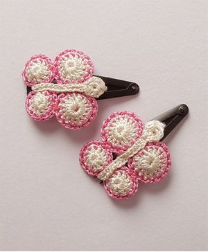 Samoolam Crafts Butterfly Motif Crochet Clips - White & Pink