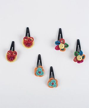 Samoolam Crafts Set Of 3 Owl & Flower Hair Clips - Multicolour
