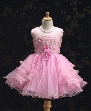 M'PRINCESS  Pink Sleeveless Party Wear Dress - Pink