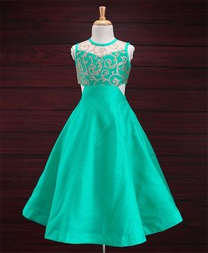 Saka Designs Full Length Sleeveless Ethnic Dress With Glitter Bodice - Sea Green