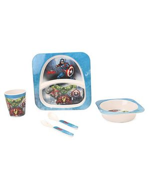 Marvel Feeding Set Avengers Print Pack of 5 - Blue Off White