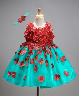 Li&Li Boutique Netted Dress With Flower Work - Blue & Red