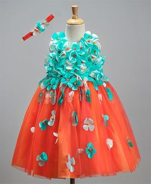 Li&Li Boutique Dual Color Flower Work Dress - Blue & Orange