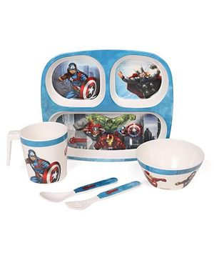Marvel Avengers Printed Feeding Set Pack of 5 - Blue (Color & Print May Vary)