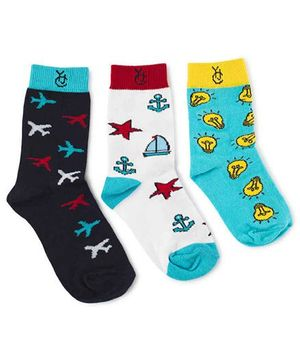 The Yellow Jersey Company Quarter Length Printed Socks Set of 3 Pairs - Multicolour