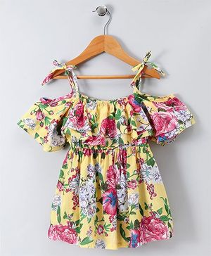 Spring Bunny Floral Print Strap Dress - Navy