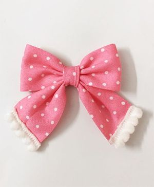 Knotty Ribbons Polka Dots Sailor Bow Alligator Clip - Light Pink