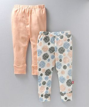 Nino Bambino Pack Of 2 Leggings - Peach & White