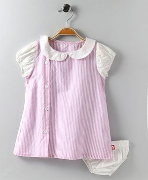 Nino Bambino Frock With Bloomer - Pink & White