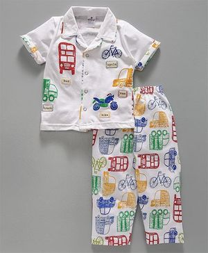Ollypop Half Sleeves Night Suit Vehicle Print - White
